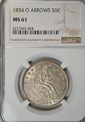 1854 O Seated half dollar, with Arrows, NGC MS61