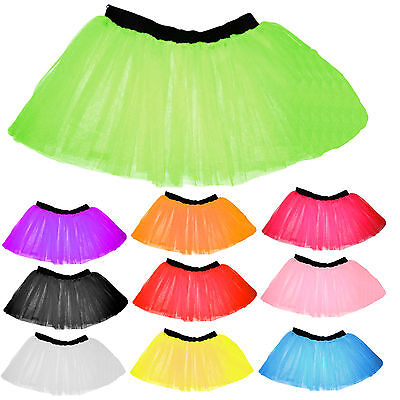 Children Kids Neon 3 Layers Uv Flo Girl Tutu Skirt Fancy Dress Party 4-14 Years