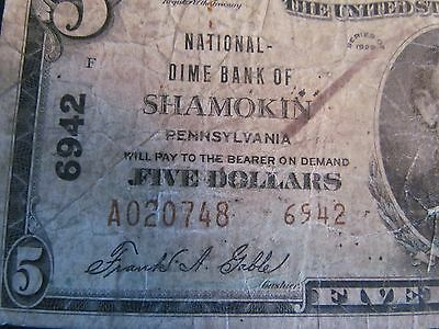 1929 $5 National Currency.  National Dime Bank of Shamokin Pa.  6942 Type 2 Note