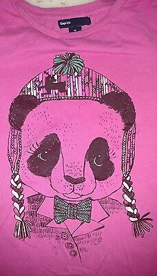GAP Kids Girls Size Medium, 8 Panda Pink Long Sleeve Tee Shirt
