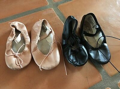 2 Pair ABT Little Girls 8.5 Pink Black Leather American Ballet Dance Shoes