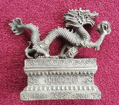 Antique Chinese Silver Dragon W/ Crystal Ball Figurine / Statue