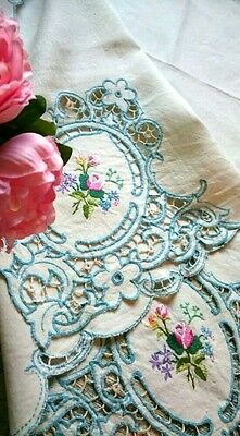 Vintage  Hand Embroidered Square Linen Tablecloth Lace Cutwork  Amazing