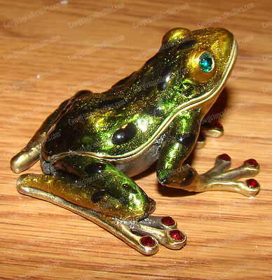 Antiqued Water Frog (4004A) Bejeweled Baked Enamel Trinket (Treasure) Box