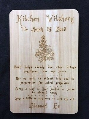 Handcrafted Wooden Kitchen Board with Magical Herbs ~ Basil ~ Pagan ~ Wicca
