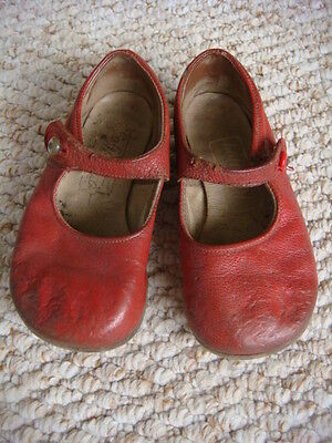 "Original Vintage 1940's / 1950's Red Leather ""Kiddijoy"" Children's Shoes"