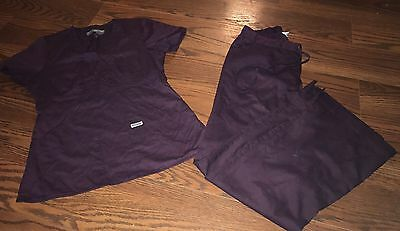 greys anatomy scrub Set  top And Bottom Extra small XS Plum Deep Purple