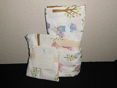 2pc Pottery Barn Kids HAYLEY owl woodland CRIB/TODDLER SHEET+PILLOWCASE