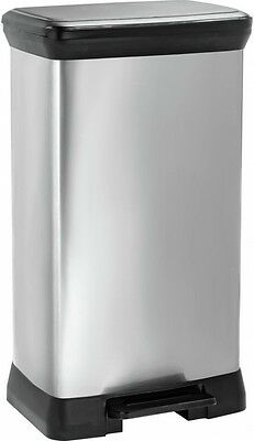 Curver 50 Litre Pedal Bin Plastic Kitchen Trash Waste Dust Storage Home Silver