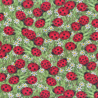 Red Ladybirds on Green Leaves Ladybugs Daisies Quilt Fabric FQ or Metre New