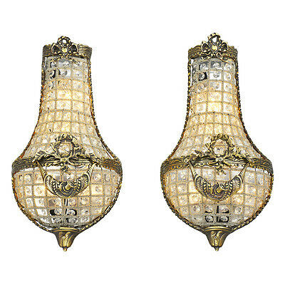 Antique French Wall Sconces Basket Style Crystal Lights - Pair (ANT-808)