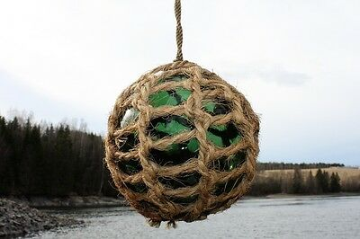 "European Glass Fishing Float Ball from Norway 4.5"" Norwegian maritime netted"
