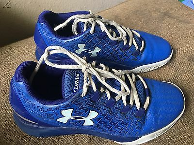 Youth Boys Size 6 Under Armour Drive Sneakers Royal Blue & White