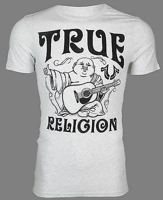 TRUE RELIGION Mens T-Shirt UPFRONT BUDDHA Ash Heather Grey Black $69 Jeans NWT