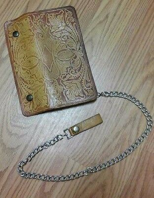 Vintage Chain Wallet Tan Brown Leather with Zipper Coin Compartment