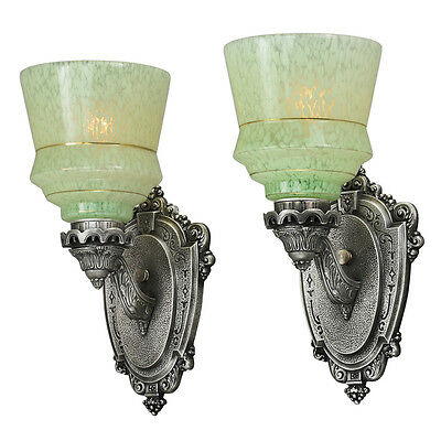 Antique Wall Sconces Pair 1920s Lights with End of Day Glass Shades (ANT-809)
