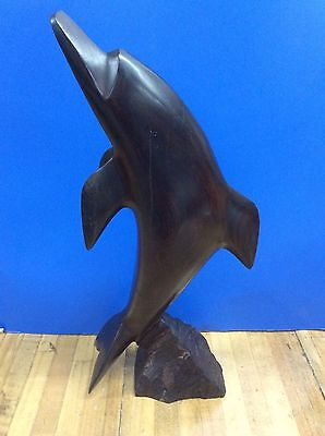 Vintage Hand Carved Ironwood Dolphin  Statues Figurine 14 Tall