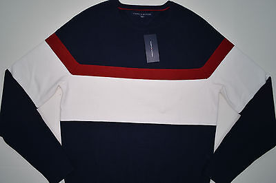 NWT Men's Tommy Hilfiger CrewNeck Pullover Sweater Multi Color XL