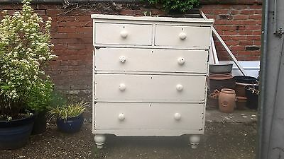 victorian pine chest of drawers 3 long 2 short vintage