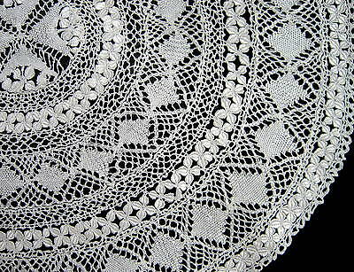Exquisite Antique Handmade Shimmering Silk Maltese Lace Centerpiece Doily
