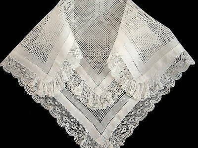 Antique Linen French Valenciennes & Drawnwork Lace Hanky