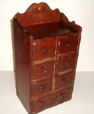 Primitive Wooden Apothecary / Spice 7 Drawer Chest Cabinet Organizer Wall Table