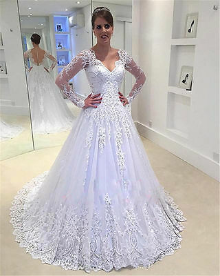 Long Sleeve A-Line White/Ivory Wedding dress Bridal Gown Custom Plus Size 2-28