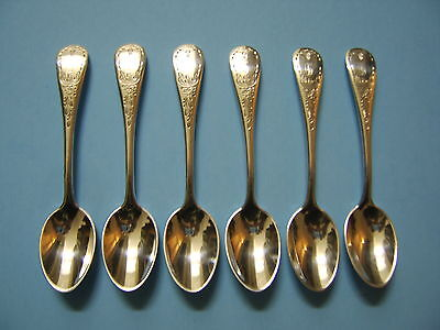 6 Birks Regency Plate 'Queen Mary' Demitasse Spoons (Monogram D)