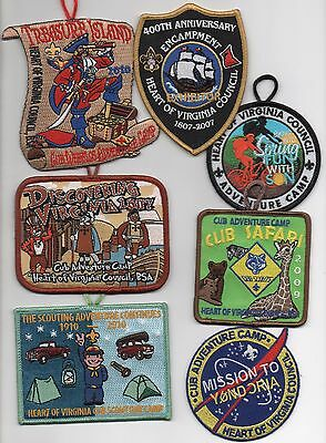 Heart of Virginia Council. Patch Lot of 7 (2007 +), Mint