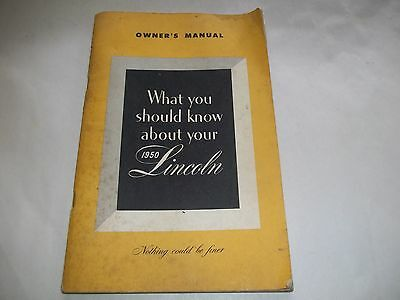 1950 Lincoln Continental Owners Manual