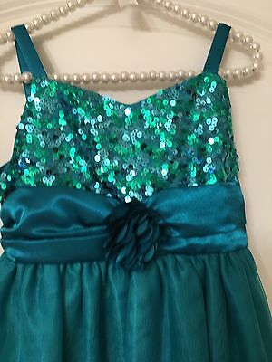 Princess Faith Sequence Green Teal Tutu Dress Girls Kids Toddler Size 6