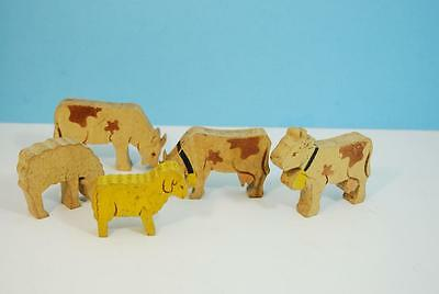 Set of Vintage Wooden Cow & Sheep Cutouts