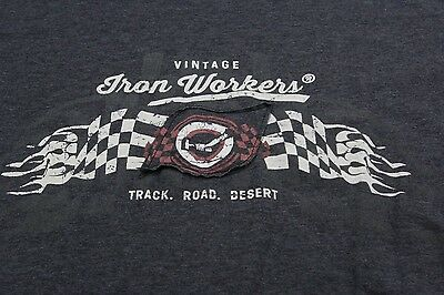 Vintage Iron Workers Track Road Desert TEE T SHIRT XL Extra Large Slim