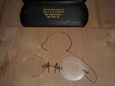 ANTIQUE OPTICAL EYEGLASSES SPECTACLES w/CASE DR NJSMirshak VINTAGE