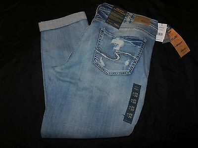 New Women's Silver Jeans Super Stretch Boyfriend Distressed Jeans Size 20