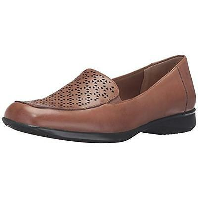 Trotters 3603 Womens Jenn Laser Brown Leather Loafers Shoes 7 Medium (B,M) BHFO
