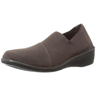 Easy Street 2803 Womens Brown Stretch Slip On Loafers Shoes 7 Medium (B,M) BHFO
