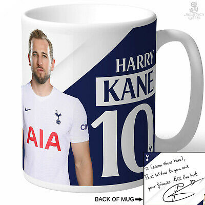 TOTTENHAM Mug, PERSONALISED. Harry Kane Signed Autograph Message. SPURS Fan
