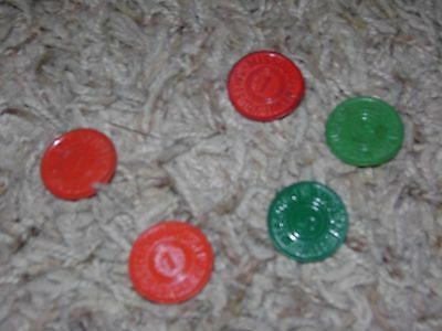 ~ Missouri Sales Tax Token Red 1 Mill and Green 5 mill QTY 5 ~ vintage