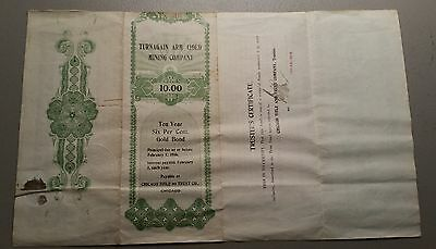 1906 Turnagain Arm Gold Mining Company Stock Certificate