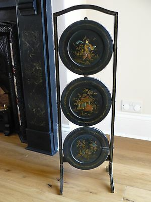 Antique Black Chinoiserie Three Tier Hand Painted Folding Cake Display Stand
