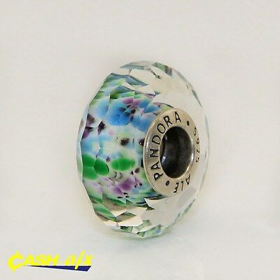 Sterling Silver Retired Pandora Blue/Green/Purple Murano Glass Charm '791610'