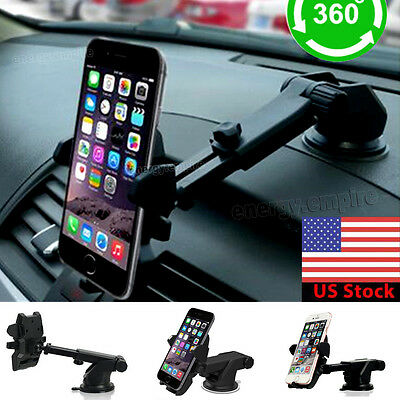 360°Car Holder Windshield Mount Bracket For iPhone Mobile Cell Phone Samsung GPS