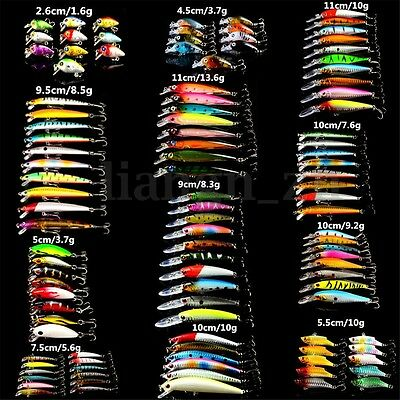 109pcs/Lot Mixed Wobbler Minnow Bass Fishing Lures Crankbait Tackle Steel Hooks