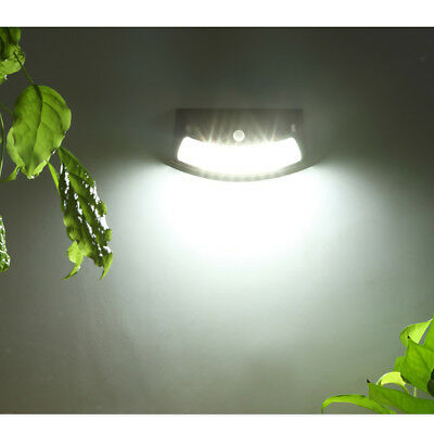Stainless Steel Wall Light Motion Sensor Solar Lamp 8-LED Night Light Black