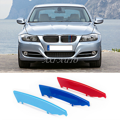 3x M Power Front Grille Cover Decor Strips Clip Trim For BMW 3 Series E90 04-08