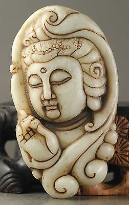 Delicate China natural old jade hand-carved buddha statue pendant guanyin CN3