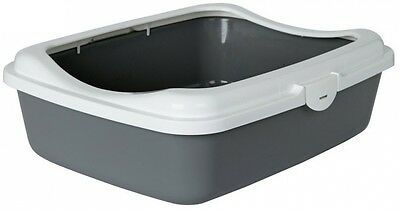 Large Cat Litter Tray Shield Pan Box Home Pet Supplies Grey Easy to Clean White
