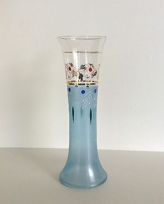 Beautiful Edwardian Handpainted hand painted enamelled Glass vase Blue as found
