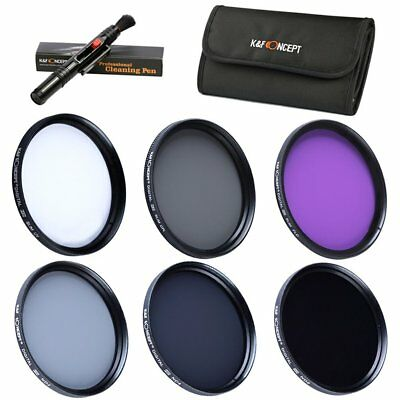K&F Concept 49mm UV CPL FLD ND2 ND4 ND8 Lens Filter Kit Hood Cap Pouch for Sony